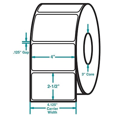 4 x 2-1/2 White Permanent Adhesive Thermal Transfer Roll Intermec Compatible Label/Ribbon Kit