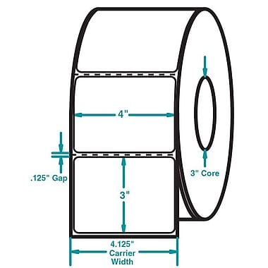 4 x 3 Perfed White Permanent Adhesive Thermal Transfer Roll Sato Compatible Label/Ribbon Kit
