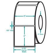 4 x 4 White Permanent Adhesive Thermal Transfer Roll Sato Compatible Label/Ribbon Kit