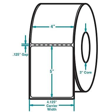 4 x 5 Perfed White Permanent Adhesive Thermal Transfer Roll Intermec Compatible Label/Ribbon Kit