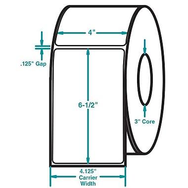 4 x 6-1/2 White Permanent Adhesive Thermal Transfer Roll Sato Compatible Label/Ribbon Kit