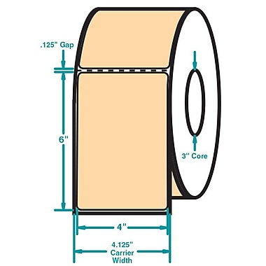4 x 6 Perfed Orange Permanent Adhesive Thermal Transfer Roll Intermec Compatible Label/Ribbon Kit