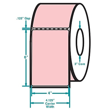 4 x 6 Perfed Pink Permanent Adhesive Thermal Transfer Roll Sato Compatible Label/Ribbon Kit
