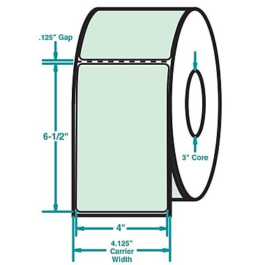 4 x 6-1/2 Perfed Green Permanent Adhesive Thermal Transfer Roll Sato Compatible Label/Ribbon Kit