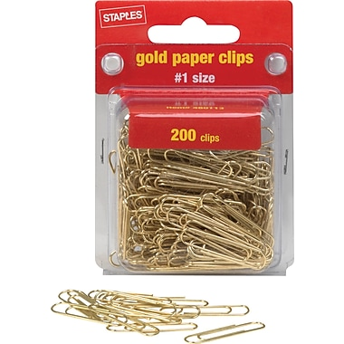 Staples® #1 Size Gold Paper Clips, Smooth, 200/Pack