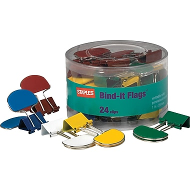Staples® Medium Bind-it Flags™ Binder Clips, 1 1/4in. Size with 5/8in. Capacity