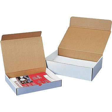 Boîtes d'expédition pour documentation, 11 1/2 po x 8 3/4 po x 2 po, blanc, 50/lot