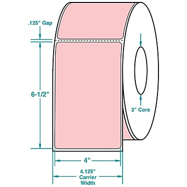 4 x 6-1/2 Perfed Pink Permanent Adhesive Thermal Transfer Roll Sato Compatible Label/Ribbon Kit