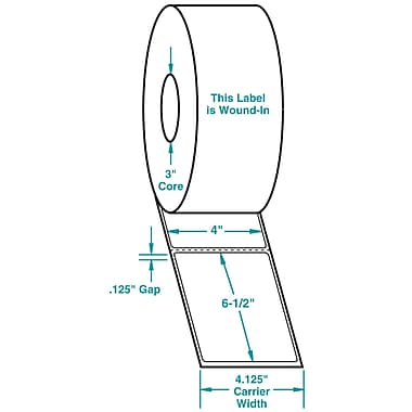 4 x 6-1/2 Perfed White Permanent Adhesive Thermal Transfer Roll Sato Compatible Label/Ribbon Kit, In