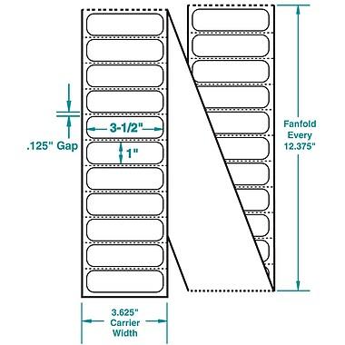 3-1/2 x 1 Perfed White Permanent Adhesive Thermal Transfer Fanfold Sato Compatible Label/Ribbon Kit
