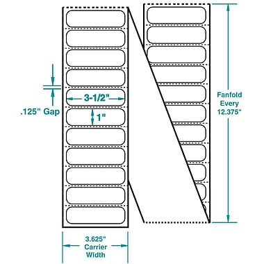 3-1/2 x 1 Perfed White Permanent Adhesive Thermal Transfer Fanfold Zebra Compatible Label/Ribbon Kit