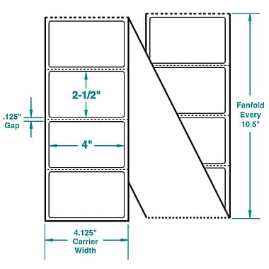 4 x 2-1/2 Perfed White Permanent Adhesive Thermal Transfer Fanfold Sato Compatible Label/Ribbon Kit