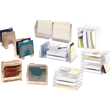 Rubbermaid optimizers clear plastic desk collection - Rubbermaid desk organizer ...