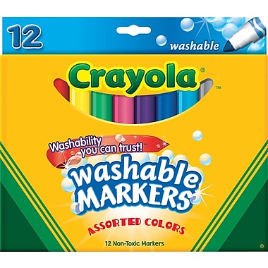 Crayola&reg Washable Markers, Broad Line, 12/Box