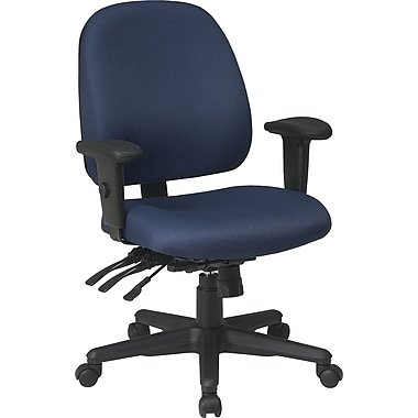 Office Star Ratchet-Back Multifunction Ergonomic Fabric Task Chair, Adjustable Arms, Blue