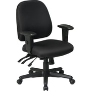 Office Star 43808-231 Ratchet Back Multi Function Fabric Ergonomic Task Chair, Black