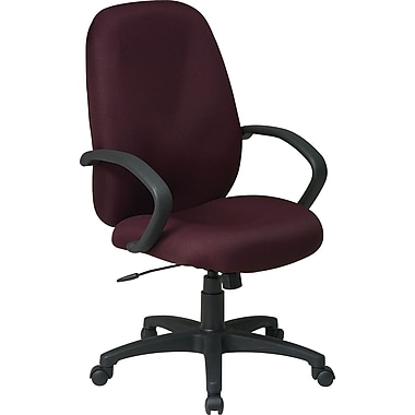 Office Star Distinctive High-Back Fabric Executive Chair, Burgundy