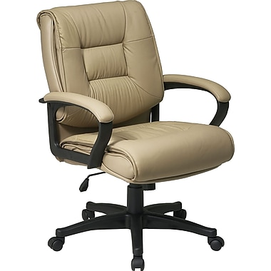 Office Star Mid-Back Leather Executive Chair, Fixed Arms, Beige