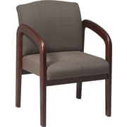 Office Star™ Wood Guest Chair, Cherry Finish Wood with Taupe Fabric