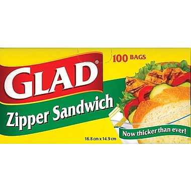 Glad® Zipper Sandwich Bags, 100/Pack (12623WAVE)