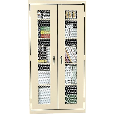 Sandusky Stationary Metal Front Cabinet, Putty, 72in.H x 46in.W x 18in.D