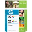 HP 22 Tri-color Ink Cartridges (CC580FN), Twin Pack