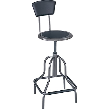 Safco® Industrial Stool with Back, Black