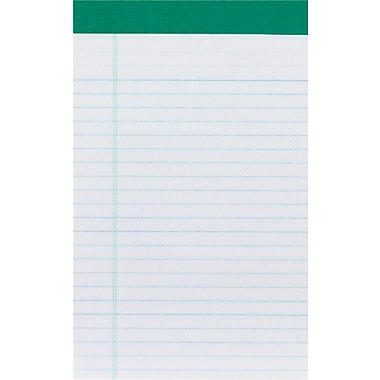 Staples 100% Recycled, 5in. x 8in., White, Perforated Notepad, Narrow Ruled, 12/Pack