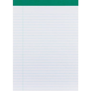 Staples 100% Recycled, 8-1/2in. x 11-3/4in., White, Perforated Notepads, Wide Ruled, 12/Pack