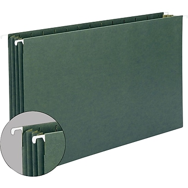Hanging File Pockets w/Full-Height Gussets, Letter Size, Green, 10/Box