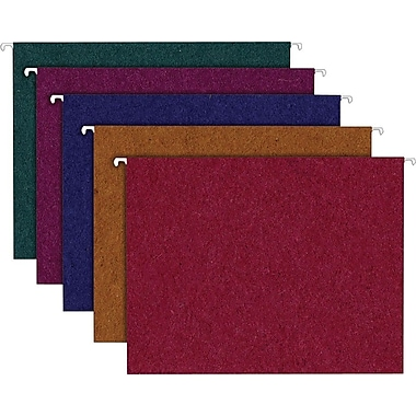Earthwise® by Pendaflex® 100% Recycled Hanging Folders, 5 Tab Positions, Letter Size, Assorted Colors, 20/Box (35117)