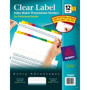 Avery® Index Maker Clear Label Tab Dividers, 12-Tab, Multicolor, 5 Sets/Pack