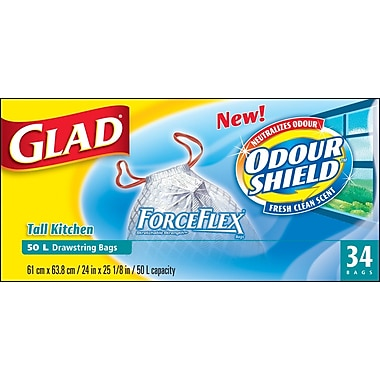 Glad® Tall Kitchen Drawstring Garbage Bags with Odour Shield, 34/Pack
