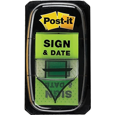 Post-it® 1in. Green in.Sign & Datein. Flags with Pop-Up Dispenser, 2/Pack
