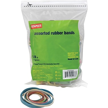 Staples Economy Rubber Bands, Assorted Sizes and Colors