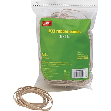 Staples Economy Rubber Bands, Size #33, 1/4 lb.