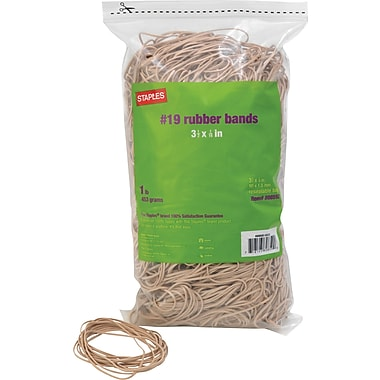 Staples Economy Rubber Bands, Size #19,   1 lb.