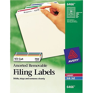Avery® 6466 Assorted Colors Removable File Folder Labels, 750/Pack