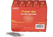 Staples® #1 Size Paper Clips, Nonskid, 1,000/Pack