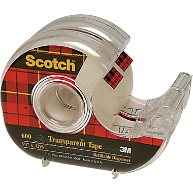 Scotch™ Transparent Tape with Dispenser, 19 mm x 32.9 m, 2/Pack