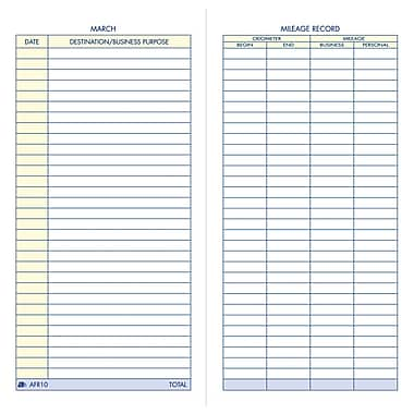 Adams® Vehicle Mileage Record Book, 3-1/4