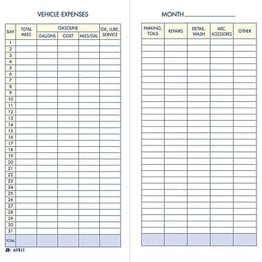 Adams Vehicle Mileage and Expense Record Book, 3-1/4in. x 6-1/4in.