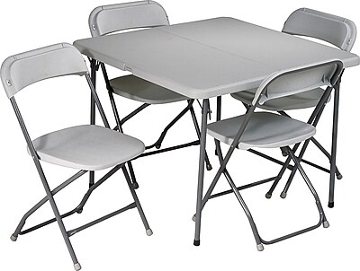 """""Office Star 36"""""""" Square Resin Folding Card Table plus 4 Chairs, Light Gray (PCT-05)"""""" 706716"