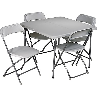 Office Star 36in. Square Resin Folding Card Table plus 4 Chairs, Lt Gray