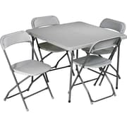 Office Star® 36 Square Resin Folding Card Table plus 4 Chairs, Lt Gray