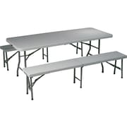 Office Star 3 Piece Folding Resin Table Set, Light Gray