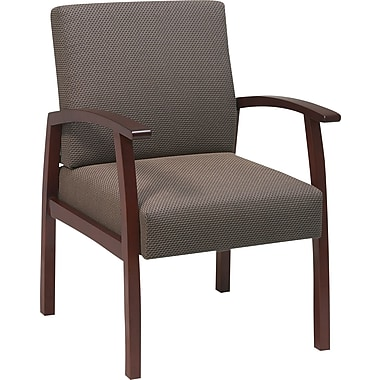 Office Star Taupe Fabric with Cherry Finish Wood Guest Chair
