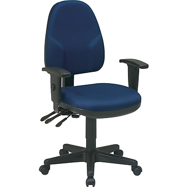 Office Star Ergonomic Fabric Task Chair, Adjustable Arms, Blue