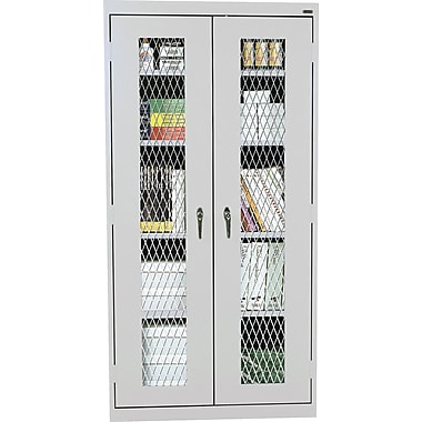 Sandusky Stationary Metal Front Cabinet, Dove Gray, 72in.H x 46in.W x 18in.D