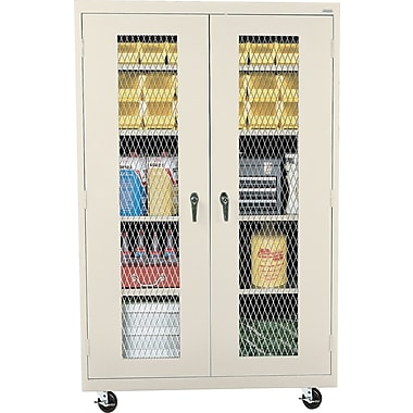 Sandusky Mobile Metal Front Cabinet, Putty, 78in.H x 46in.W x 18in.D